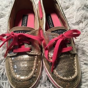 Sperry Top Slider Crusier Gold Sequins Girls 3.5